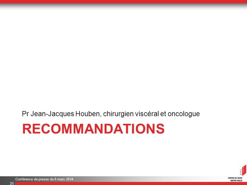 RECOMMANDATIONS Pr Jean-Jacques Houben, chirurgien viscéral et oncologue Conférence de presse du 6 mars 2014 21