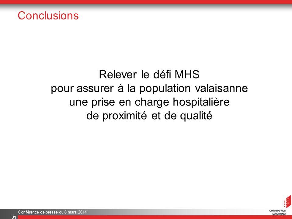 Conclusions Relever le défi MHS pour assurer à la population valaisanne une prise en charge hospitalière de proximité et de qualité Conférence de presse du 6 mars 2014 31