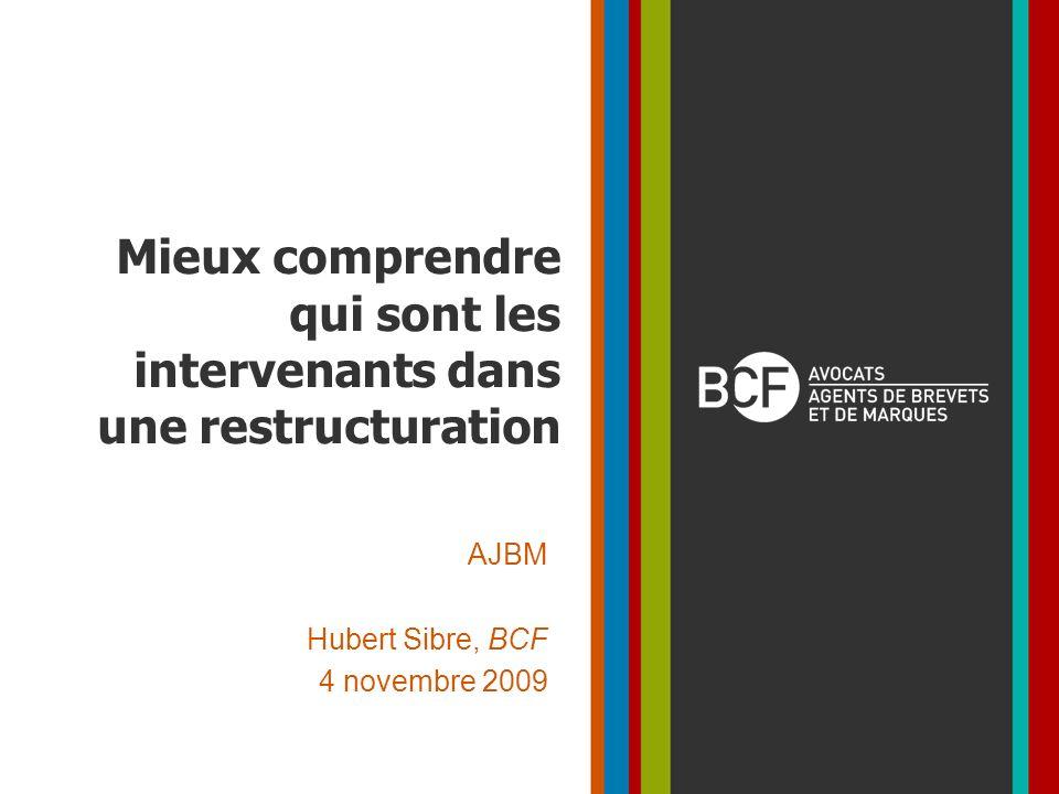 Mieux comprendre qui sont les intervenants dans une restructuration AJBM Hubert Sibre, BCF 4 novembre 2009