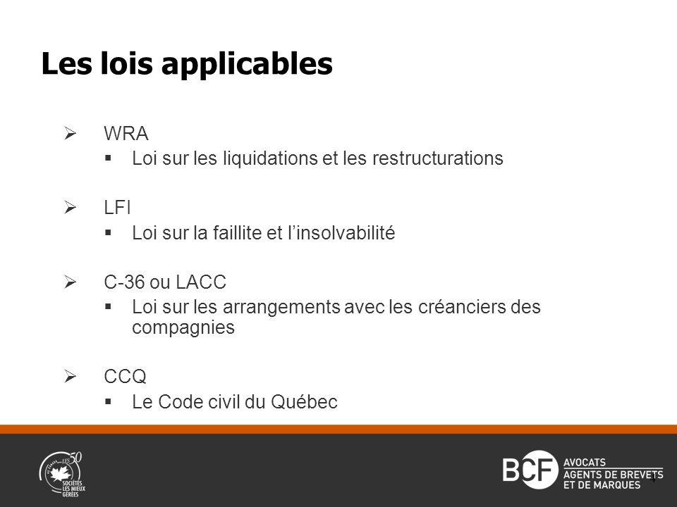 WRA Loi sur les liquidations et les restructurations LFI Loi sur la faillite et linsolvabilité C-36 ou LACC Loi sur les arrangements avec les créanciers des compagnies CCQ Le Code civil du Québec Les lois applicables 4