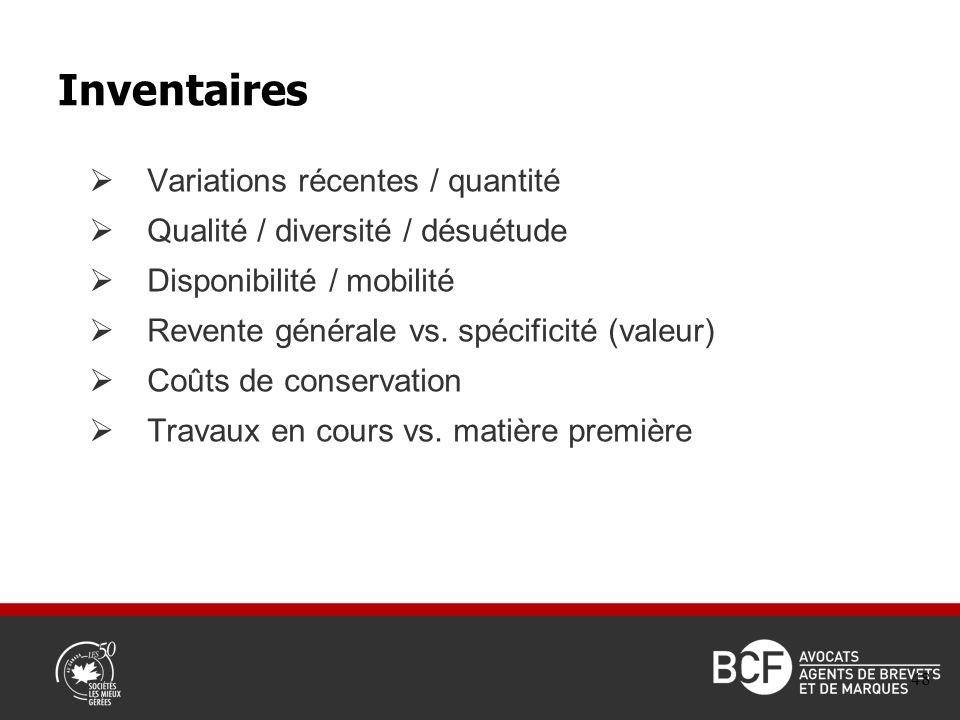Variations récentes / quantité Qualité / diversité / désuétude Disponibilité / mobilité Revente générale vs.
