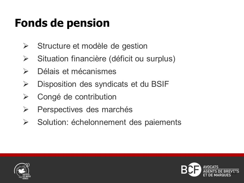 Structure et modèle de gestion Situation financière (déficit ou surplus) Délais et mécanismes Disposition des syndicats et du BSIF Congé de contribution Perspectives des marchés Solution: échelonnement des paiements Fonds de pension 55
