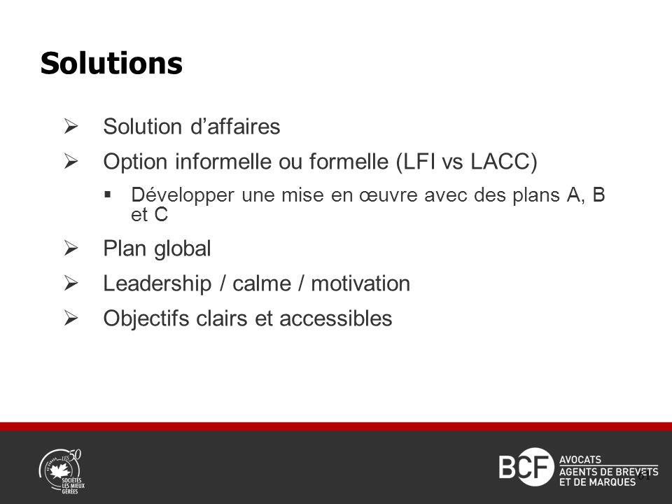 Solution daffaires Option informelle ou formelle (LFI vs LACC) Développer une mise en œuvre avec des plans A, B et C Plan global Leadership / calme / motivation Objectifs clairs et accessibles Solutions 61