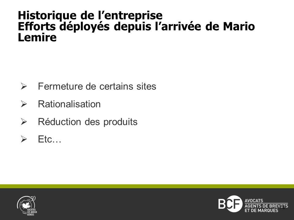 Fermeture de certains sites Rationalisation Réduction des produits Etc… Historique de lentreprise Efforts déployés depuis larrivée de Mario Lemire 74