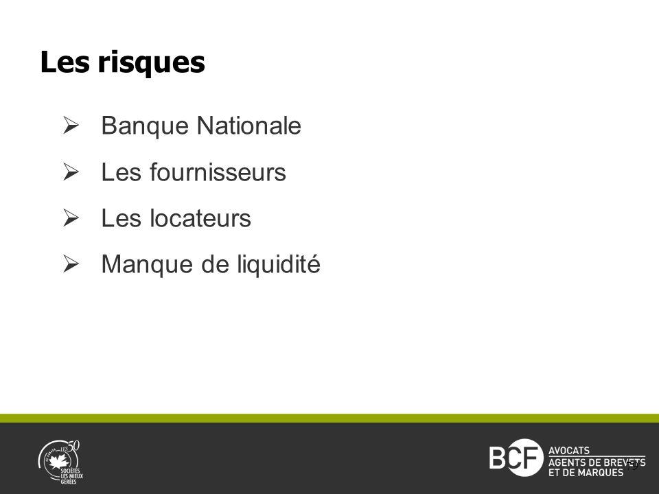 Banque Nationale Les fournisseurs Les locateurs Manque de liquidité Les risques 79