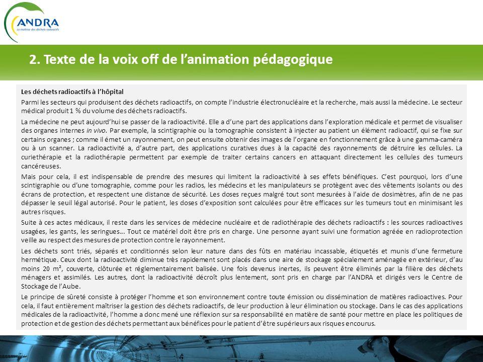 2. Texte de la voix off de lanimation pédagogique Les déchets radioactifs à lhôpital Parmi les secteurs qui produisent des déchets radioactifs, on com