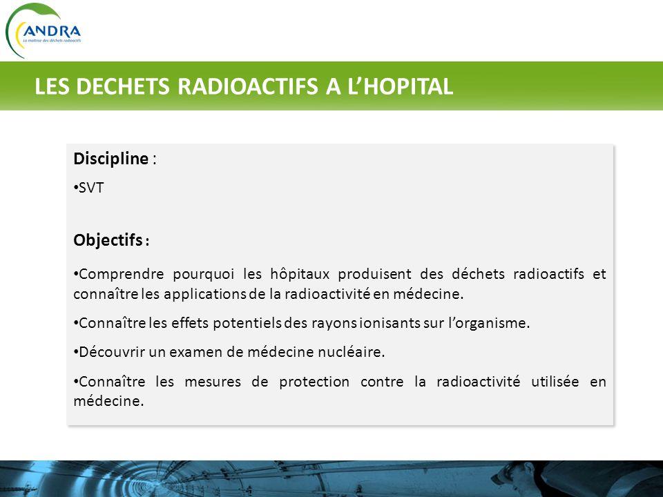 Discipline : SVT Objectifs : Comprendre pourquoi les hôpitaux produisent des déchets radioactifs et connaître les applications de la radioactivité en