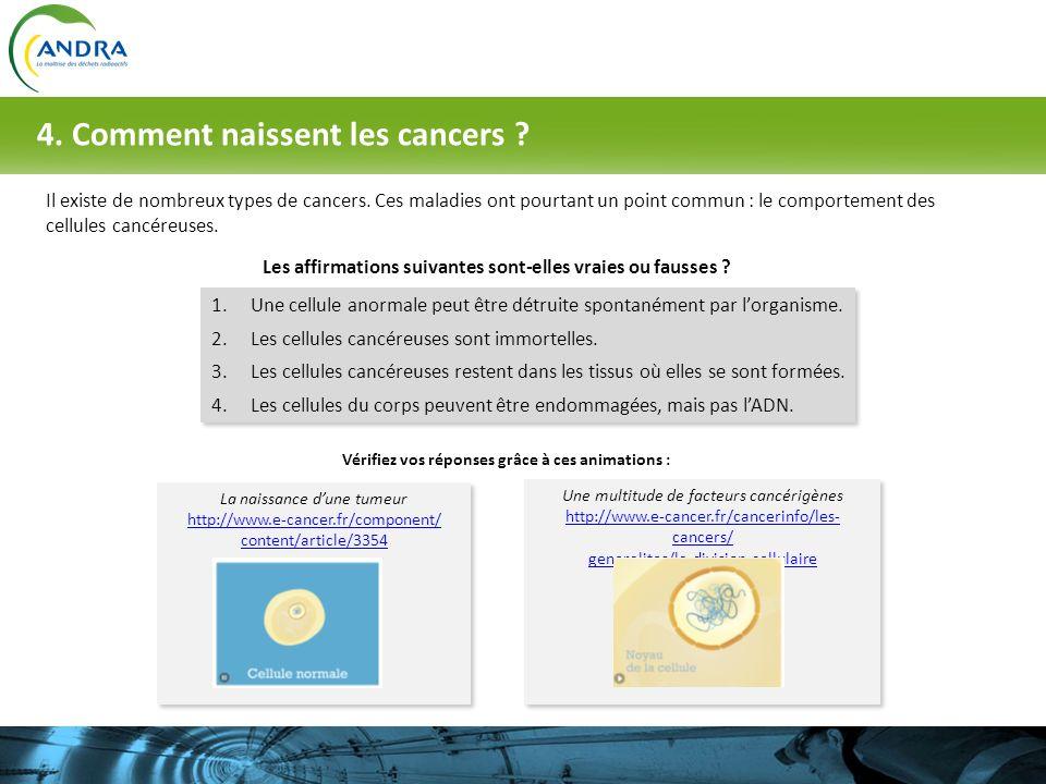 Il existe de nombreux types de cancers. Ces maladies ont pourtant un point commun : le comportement des cellules cancéreuses. Les affirmations suivant