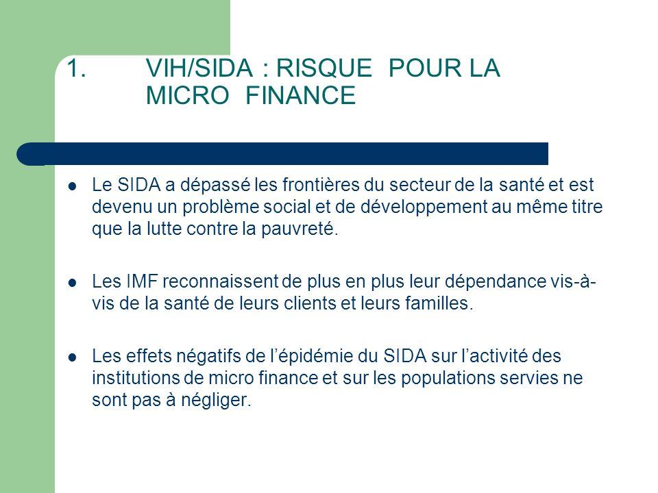 Quels sont les effets du VIH/SIDA sur les Institutions de Micro finance .