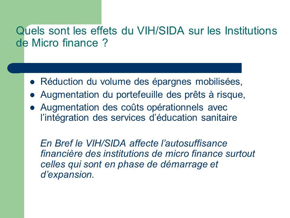Quels sont les effets du VIH/SIDA sur les Institutions de Micro finance ? Réduction du volume des épargnes mobilisées, Augmentation du portefeuille de