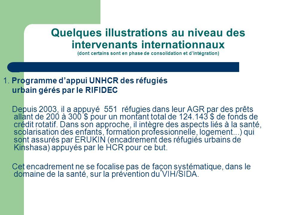 Quelques illustrations au niveau des intervenants internationnaux (dont certains sont en phase de consolidation et dintégration) 1. Programme dappui U