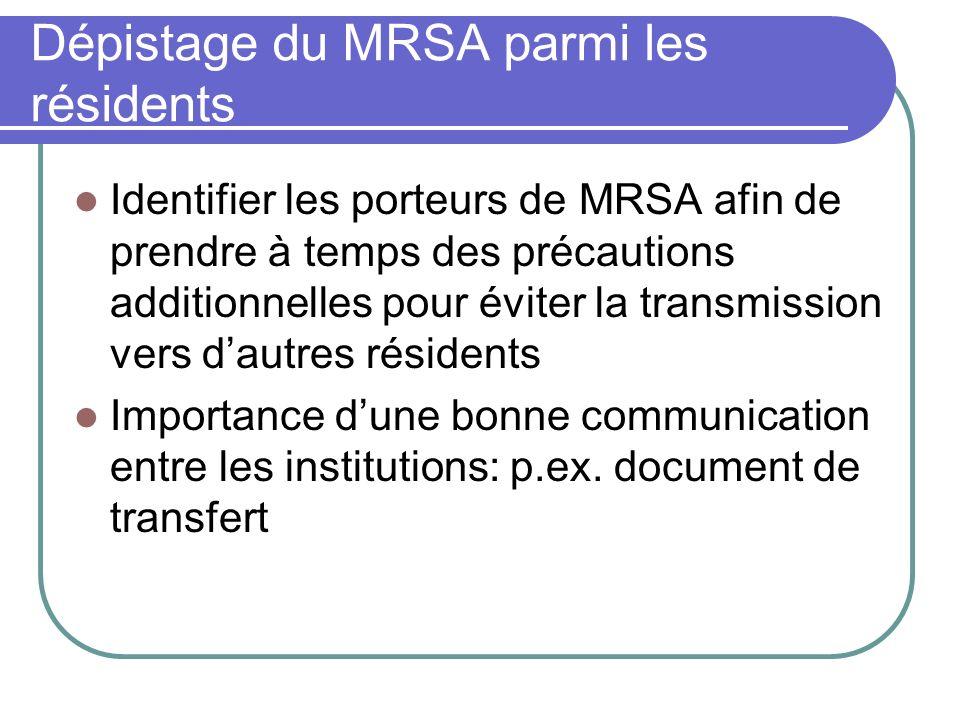 Dépistage du MRSA parmi les résidents Identifier les porteurs de MRSA afin de prendre à temps des précautions additionnelles pour éviter la transmissi