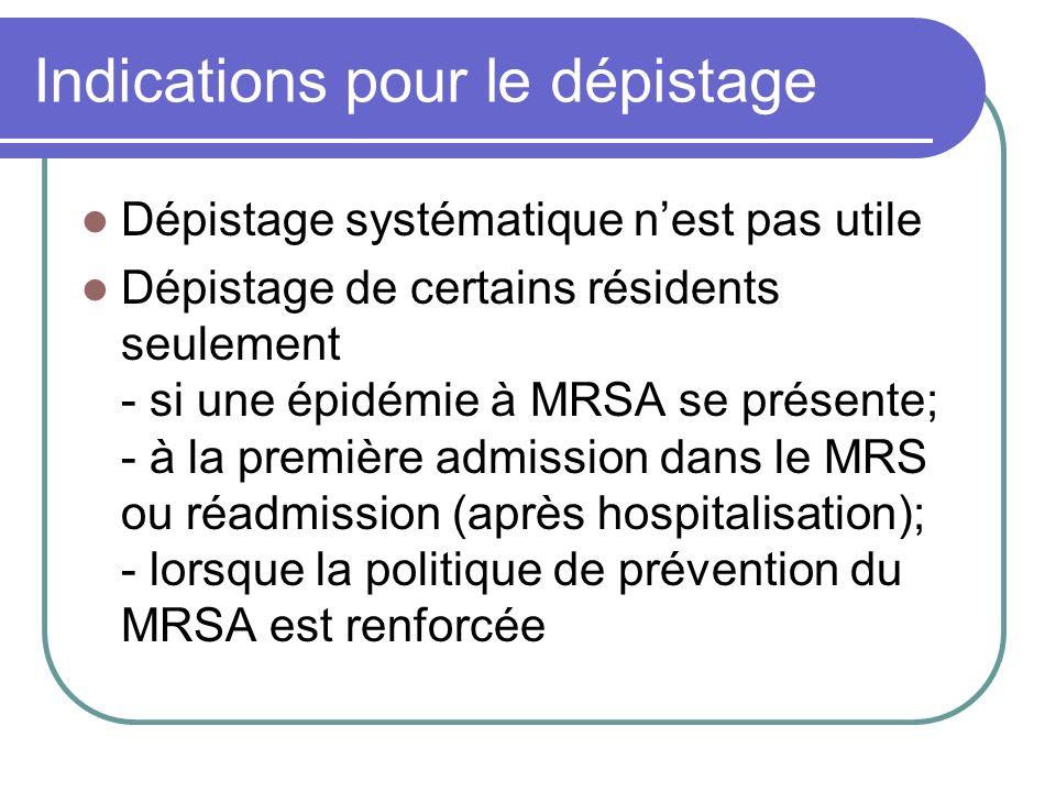 Indications pour le dépistage Dépistage systématique nest pas utile Dépistage de certains résidents seulement - si une épidémie à MRSA se présente; -