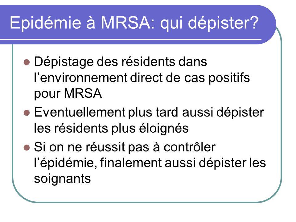 Epidémie à MRSA: qui dépister? Dépistage des résidents dans lenvironnement direct de cas positifs pour MRSA Eventuellement plus tard aussi dépister le