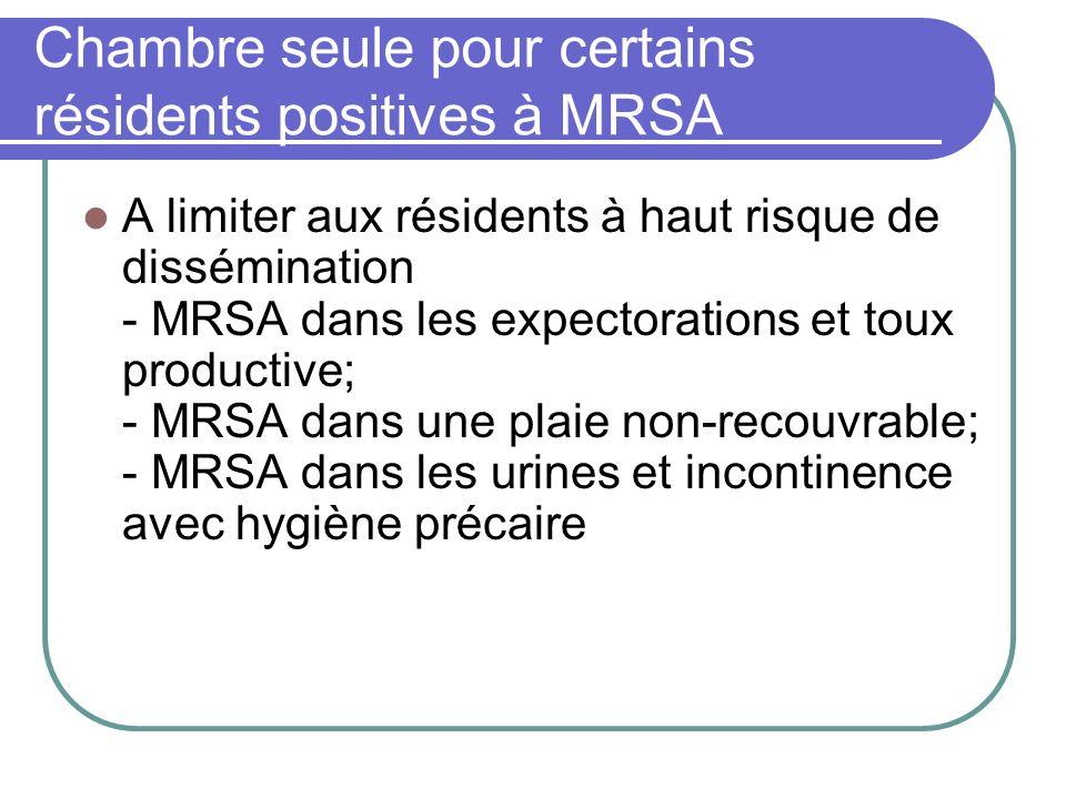 Chambre seule pour certains résidents positives à MRSA A limiter aux résidents à haut risque de dissémination - MRSA dans les expectorations et toux p