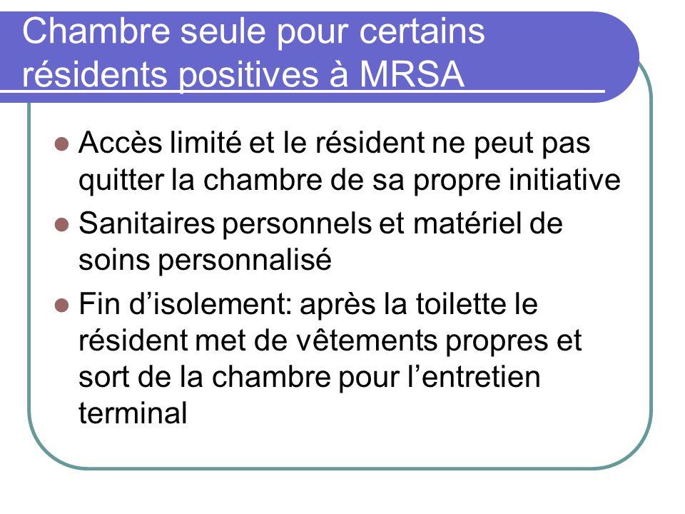 Chambre seule pour certains résidents positives à MRSA Accès limité et le résident ne peut pas quitter la chambre de sa propre initiative Sanitaires p