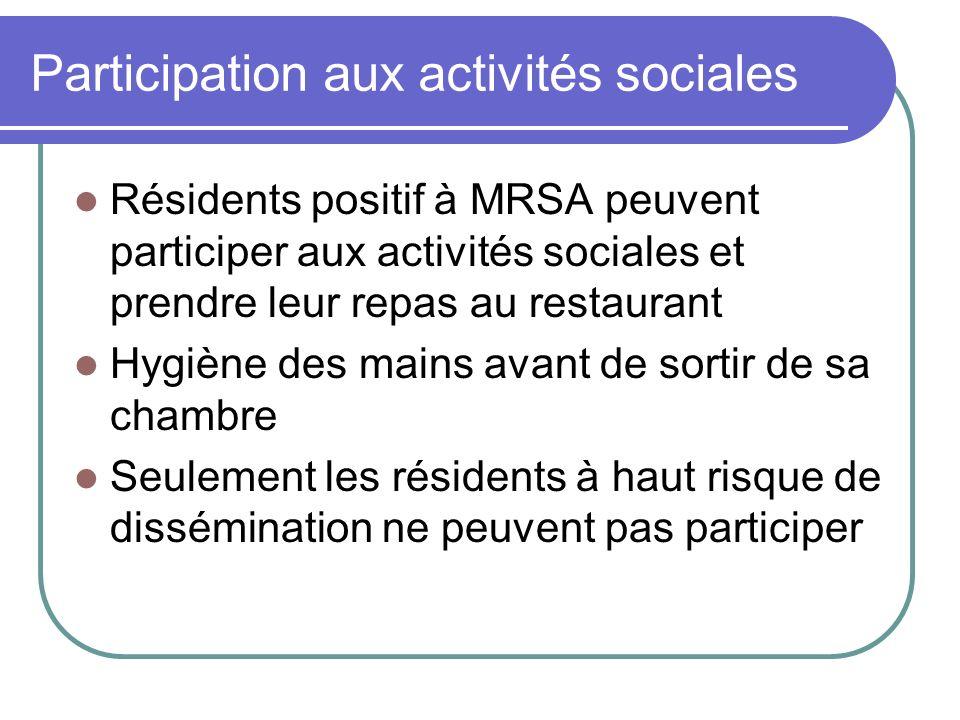 Participation aux activités sociales Résidents positif à MRSA peuvent participer aux activités sociales et prendre leur repas au restaurant Hygiène de