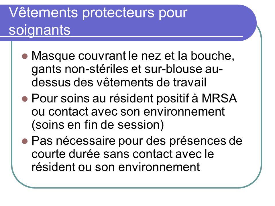 Vêtements protecteurs pour soignants Masque couvrant le nez et la bouche, gants non-stériles et sur-blouse au- dessus des vêtements de travail Pour so