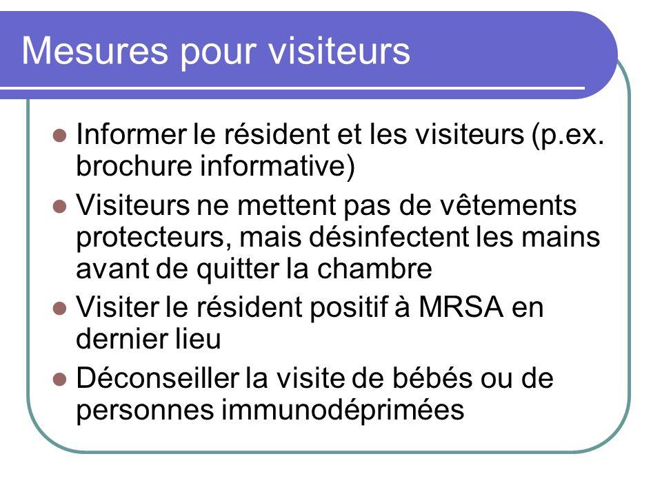 Mesures pour visiteurs Informer le résident et les visiteurs (p.ex. brochure informative) Visiteurs ne mettent pas de vêtements protecteurs, mais dési