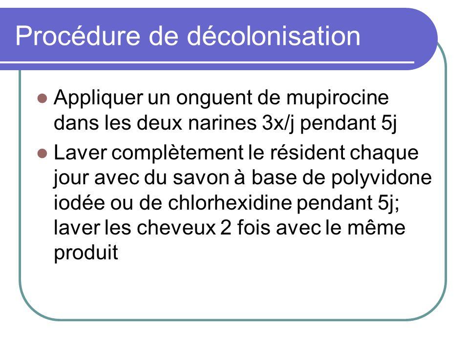 Procédure de décolonisation Appliquer un onguent de mupirocine dans les deux narines 3x/j pendant 5j Laver complètement le résident chaque jour avec d