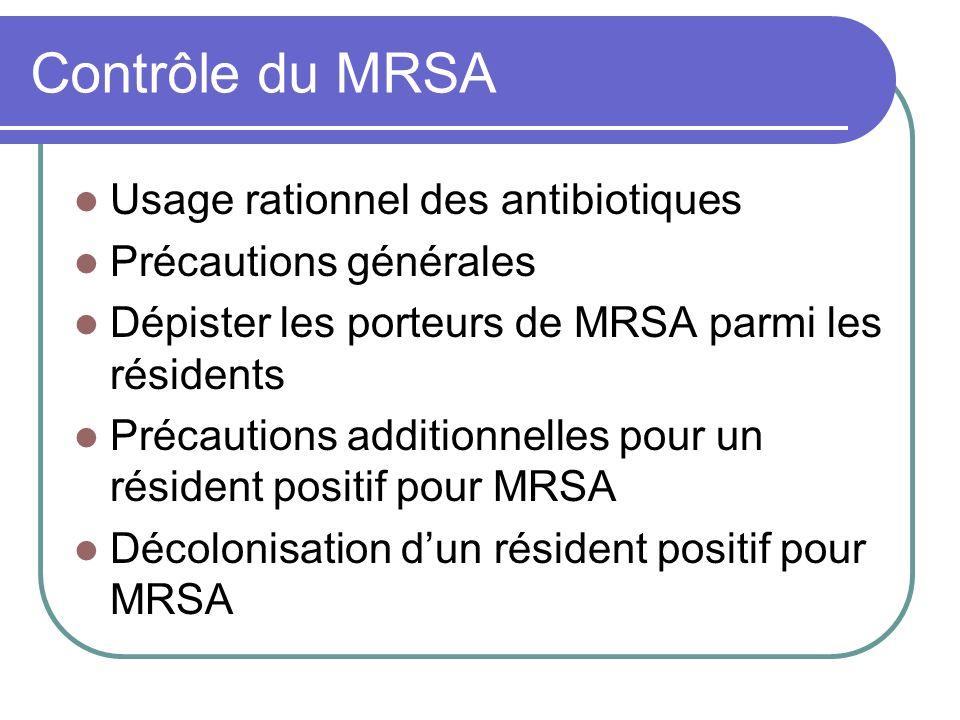 Contrôle du MRSA Usage rationnel des antibiotiques Précautions générales Dépister les porteurs de MRSA parmi les résidents Précautions additionnelles