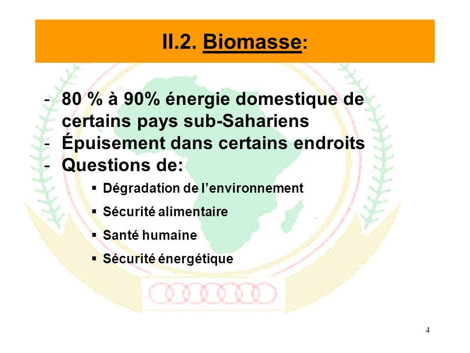 4 -80 % à 90% énergie domestique de certains pays sub-Sahariens -Épuisement dans certains endroits -Questions de: Dégradation de lenvironnement Sécurité alimentaire Santé humaine Sécurité énergétique II.2.