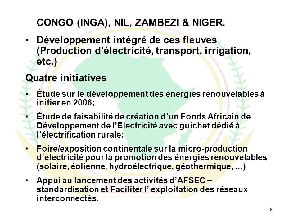9 La Commission de lUnion Africaine a initié une étude prospective sur le pétrole et le gaz naturel en Afrique avec pour objectifs de: –Faire le point des connaissances sur les réserves de pétrole et de gaz en Afrique; –Passer en revue les scénarios du futur du pétrole et du gaz dans le monde et en Afrique; –Tirer les conséquences pour lAfrique de cette évolution future probable; et –Proposer des stratégies que les pays importateurs et exportateurs de pétrole et/ou de gaz peuvent adopter, individuellement ou collectivement, pour optimiser leur situation, en vue notamment de faire face aux fluctuations des prix du pétrole et à lépuisement à terme des réserves de pétrole et de gaz.