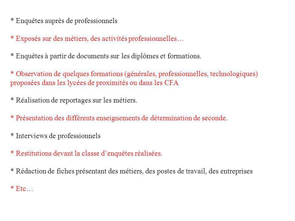 * Enquêtes auprès de professionnels * Exposés sur des métiers, des activités professionnelles… * Enquêtes à partir de documents sur les diplômes et fo