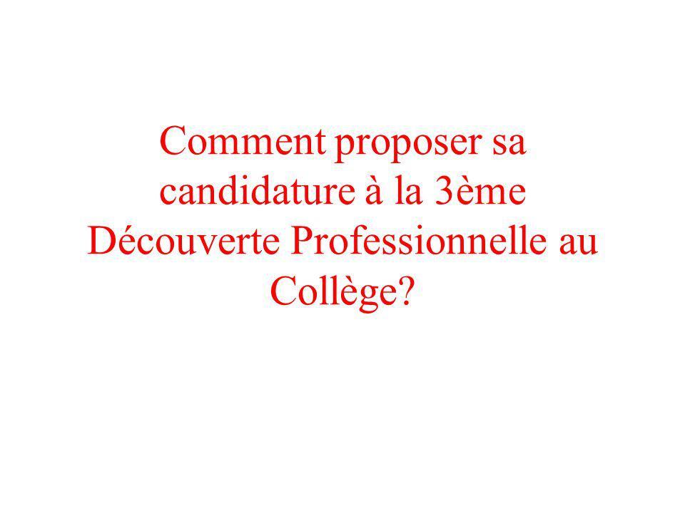 Comment proposer sa candidature à la 3ème Découverte Professionnelle au Collège?