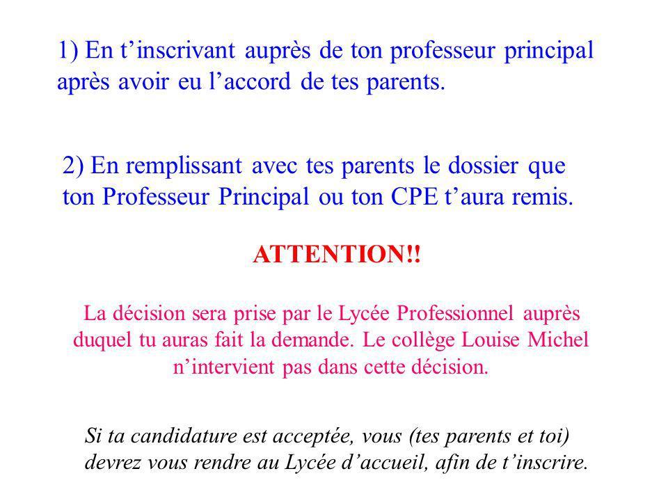 1) En tinscrivant auprès de ton professeur principal après avoir eu laccord de tes parents. 2) En remplissant avec tes parents le dossier que ton Prof