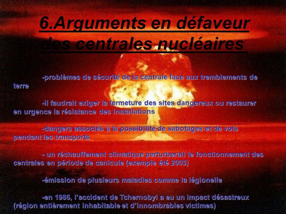 6.Arguments en défaveur des centrales nucléaires -problèmes de sécurité de la centrale face aux tremblements de terre -problèmes de sécurité de la cen