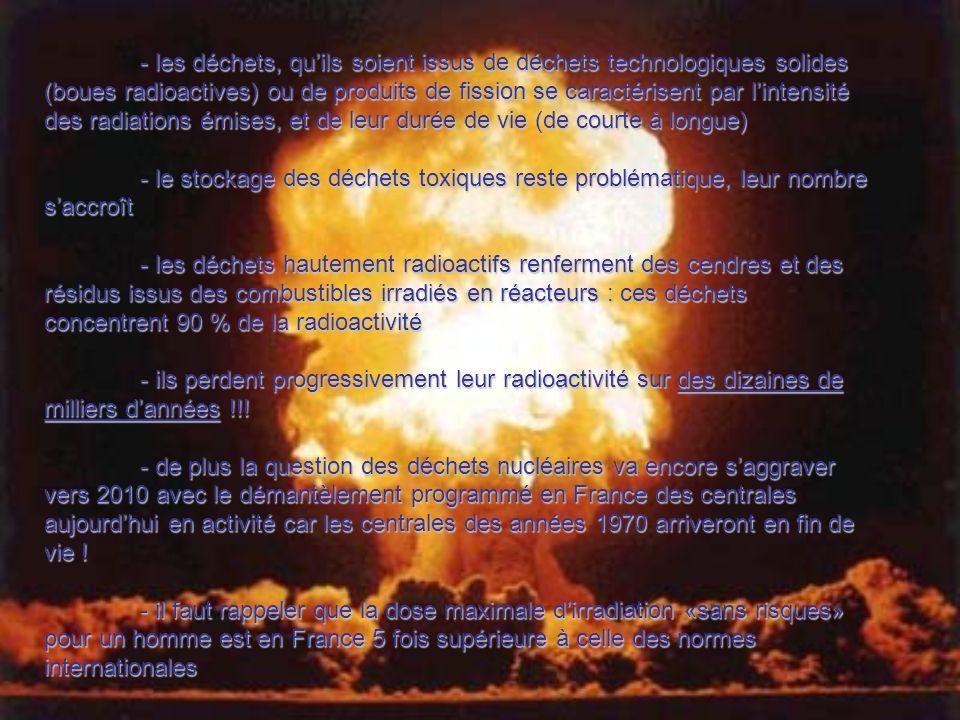 - les déchets, quils soient issus de déchets technologiques solides (boues radioactives) ou de produits de fission se caractérisent par lintensité des