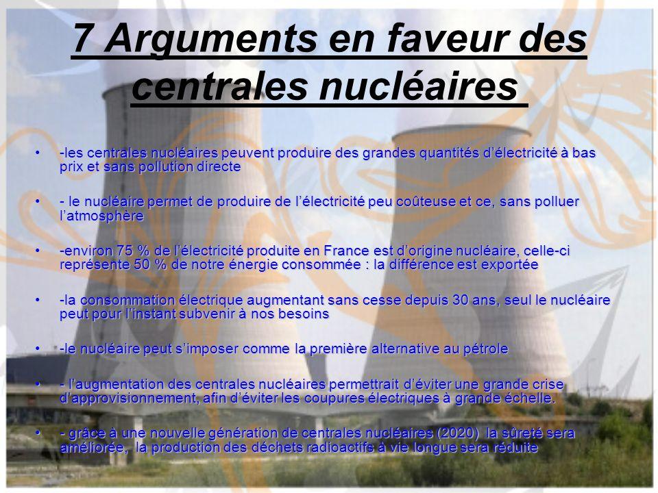 7 Arguments en faveur des centrales nucléaires -les centrales nucléaires peuvent produire des grandes quantités délectricité à bas prix et sans pollut