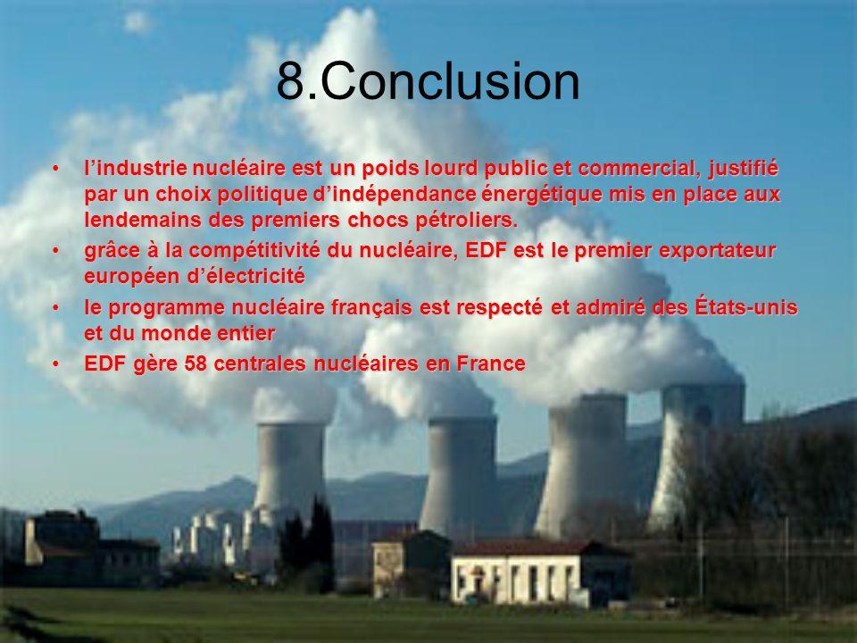 8.Conclusion lindustrie nucléaire est un poids lourd public et commercial, justifié par un choix politique dindépendance énergétique mis en place aux