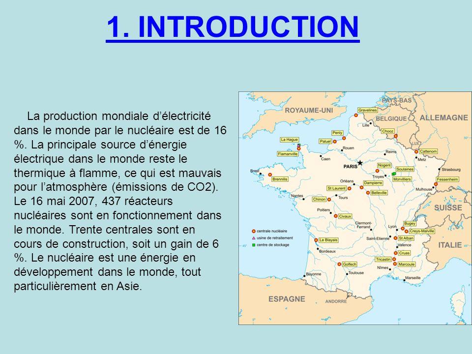 1. INTRODUCTION La production mondiale délectricité dans le monde par le nucléaire est de 16 %. La principale source dénergie électrique dans le monde