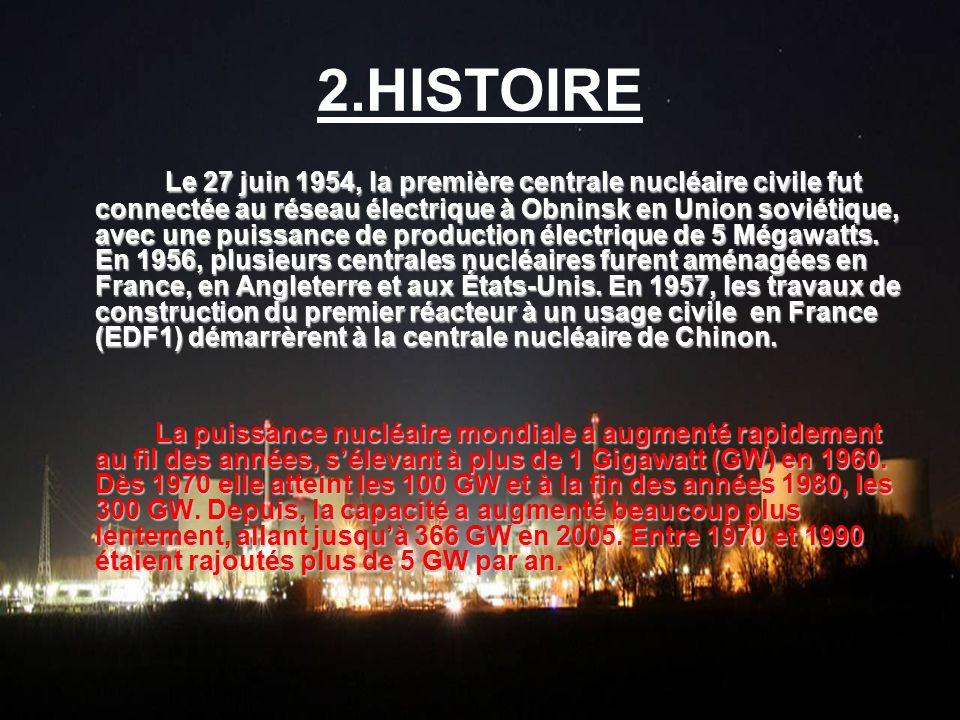 2.HISTOIRE Le 27 juin 1954, la première centrale nucléaire civile fut connectée au réseau électrique à Obninsk en Union soviétique, avec une puissance