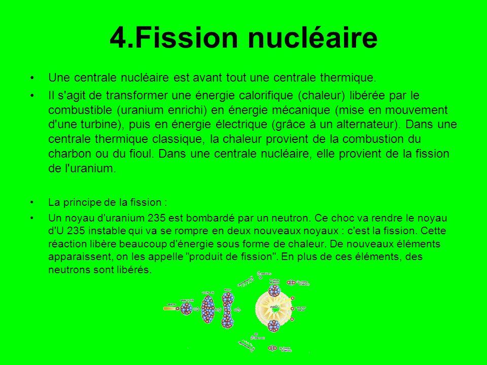 4.Fission nucléaire Une centrale nucléaire est avant tout une centrale thermique. Il s'agit de transformer une énergie calorifique (chaleur) libérée p
