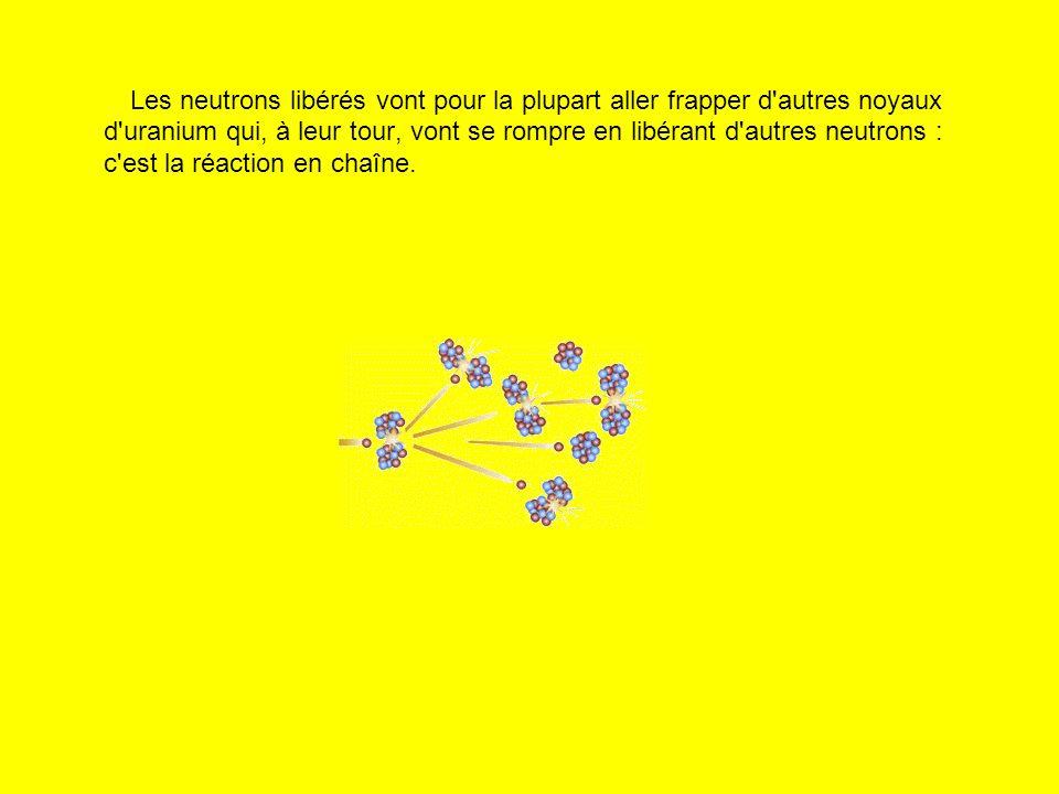 Les neutrons libérés vont pour la plupart aller frapper d'autres noyaux d'uranium qui, à leur tour, vont se rompre en libérant d'autres neutrons : c'e