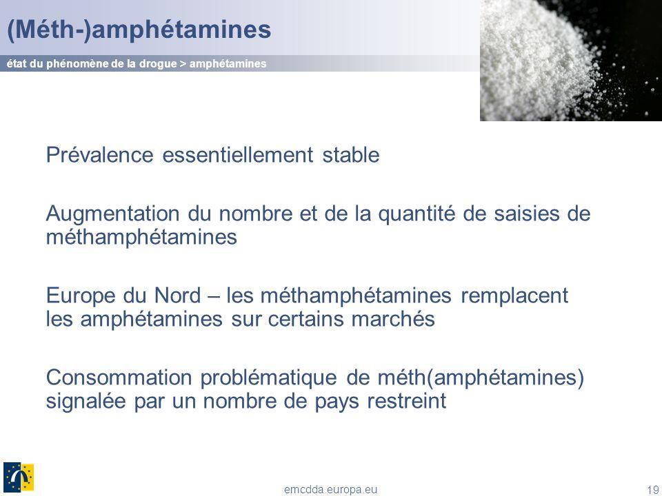 19 emcdda.europa.eu (Méth-)amphétamines Prévalence essentiellement stable Augmentation du nombre et de la quantité de saisies de méthamphétamines Euro