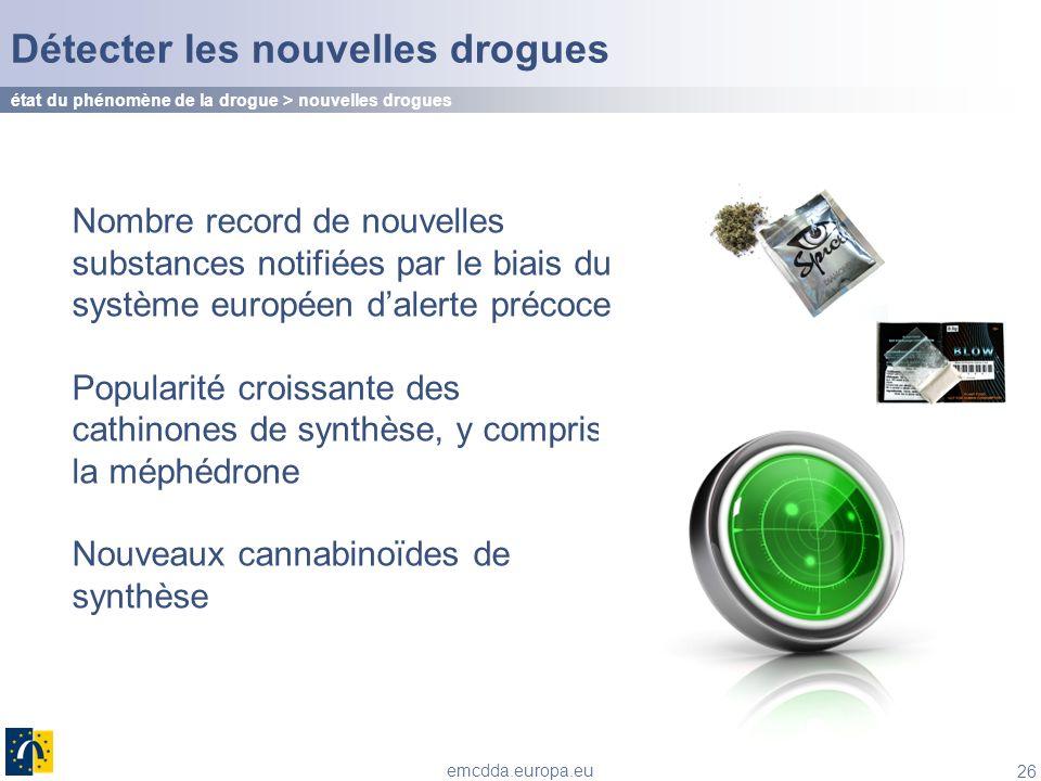 26 emcdda.europa.eu Détecter les nouvelles drogues Nombre record de nouvelles substances notifiées par le biais du système européen dalerte précoce Po