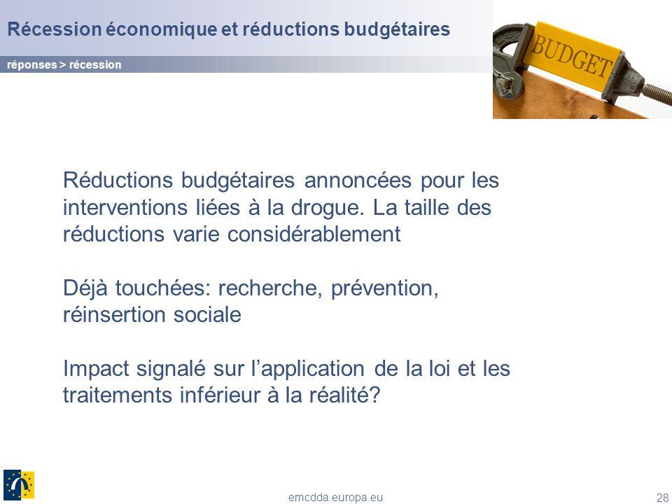 28 emcdda.europa.eu Récession économique et réductions budgétaires Réductions budgétaires annoncées pour les interventions liées à la drogue. La taill