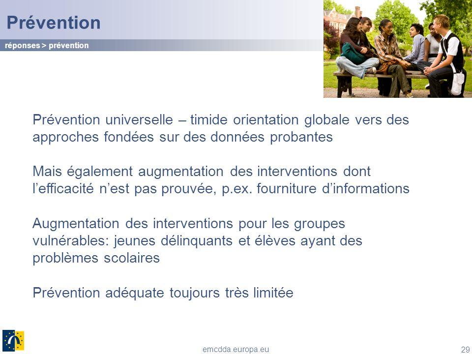 29 emcdda.europa.eu Prévention Prévention universelle – timide orientation globale vers des approches fondées sur des données probantes Mais également