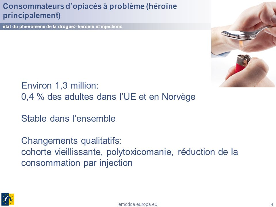 4 emcdda.europa.eu Environ 1,3 million: 0,4 % des adultes dans lUE et en Norvège Stable dans lensemble Changements qualitatifs: cohorte vieillissante,