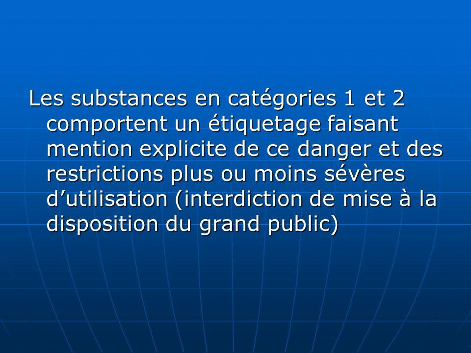 Les substances en catégories 1 et 2 comportent un étiquetage faisant mention explicite de ce danger et des restrictions plus ou moins sévères dutilisa