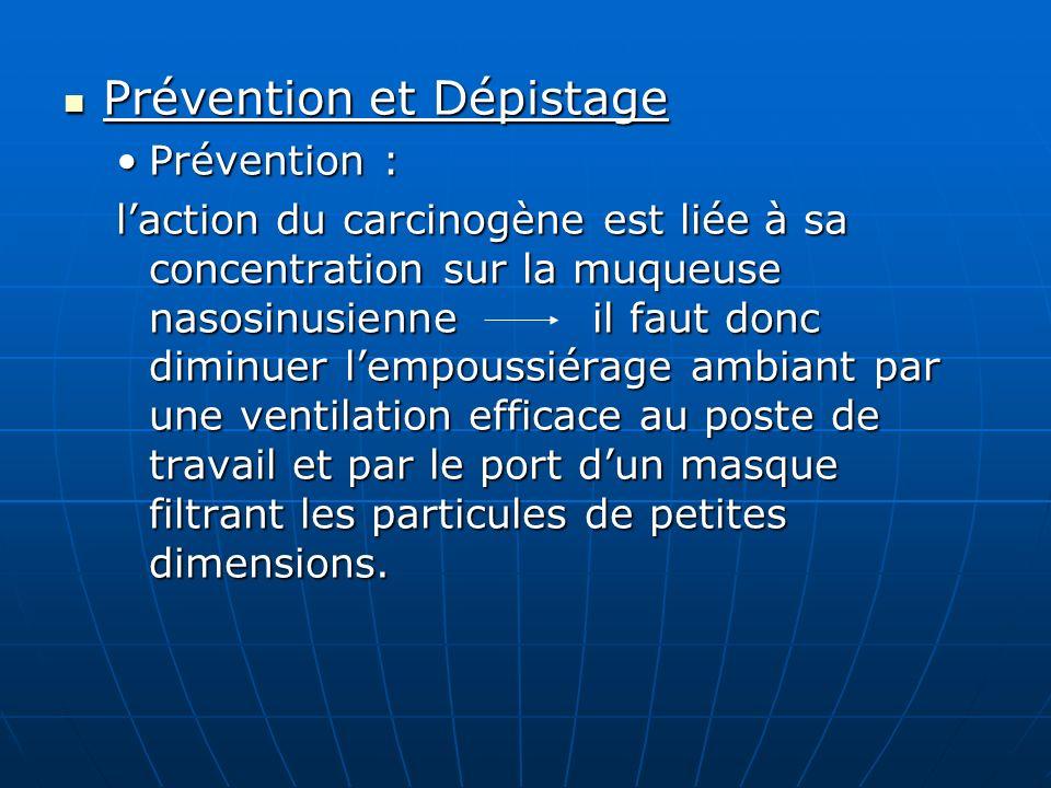 Prévention et Dépistage Prévention et Dépistage Prévention :Prévention : laction du carcinogène est liée à sa concentration sur la muqueuse nasosinusi