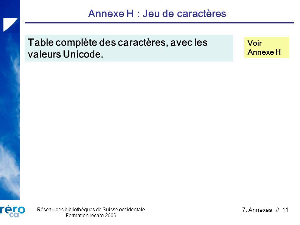 Réseau des bibliothèques de Suisse occidentale Formation récaro 2006 7: Annexes // 11 Annexe H : Jeu de caractères Table complète des caractères, avec
