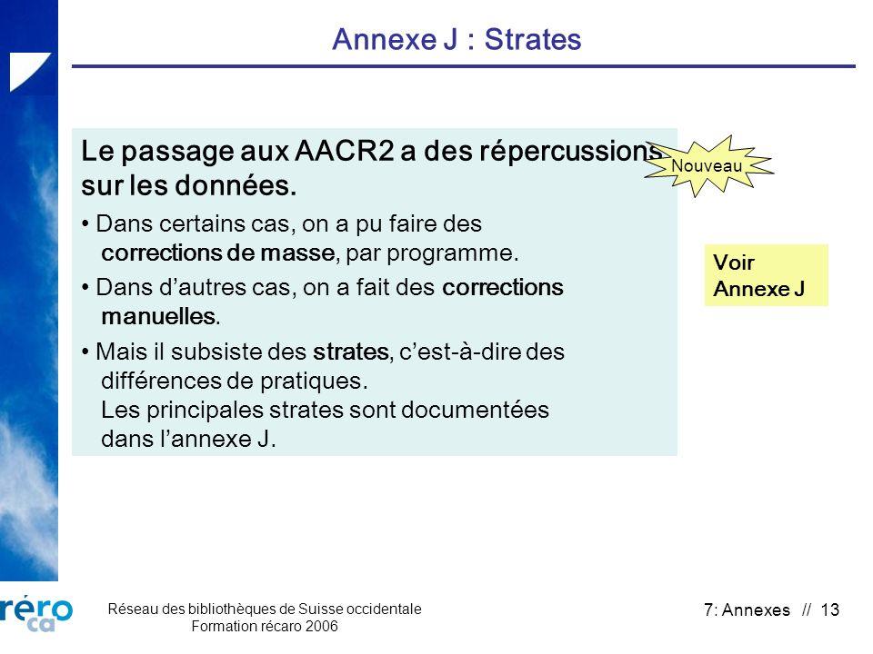 Réseau des bibliothèques de Suisse occidentale Formation récaro 2006 7: Annexes // 13 Annexe J : Strates Le passage aux AACR2 a des répercussions sur