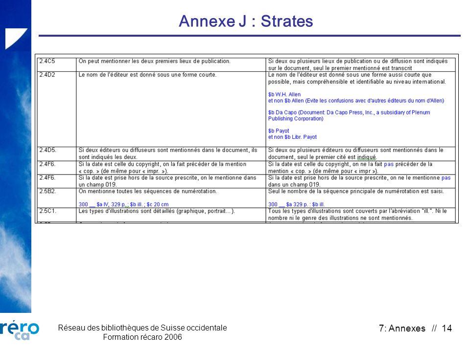 Réseau des bibliothèques de Suisse occidentale Formation récaro 2006 7: Annexes // 14 Annexe J : Strates