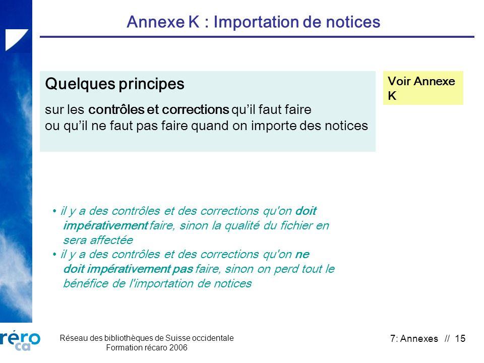 Réseau des bibliothèques de Suisse occidentale Formation récaro 2006 7: Annexes // 15 Annexe K : Importation de notices Quelques principes sur les con