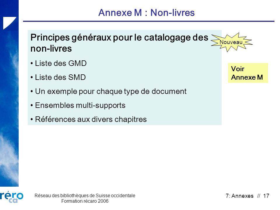 Réseau des bibliothèques de Suisse occidentale Formation récaro 2006 7: Annexes // 17 Annexe M : Non-livres Principes généraux pour le catalogage des